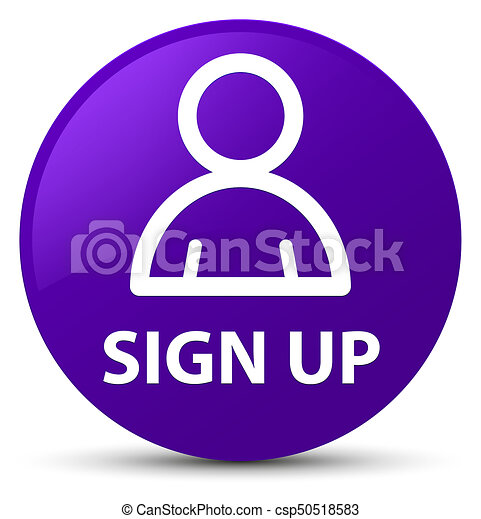 Sign up (member icon) purple round button - csp50518583