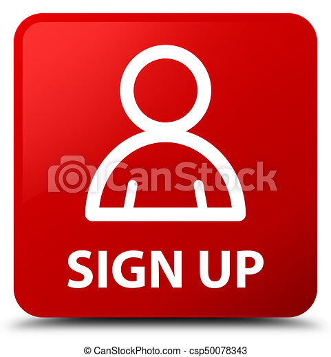 Sign up (member icon) red square button - csp50078343