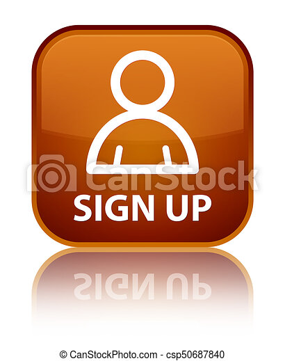 Sign up (member icon) special brown square button - csp50687840