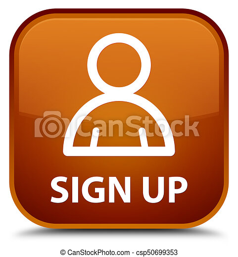 Sign up (member icon) special brown square button - csp50699353