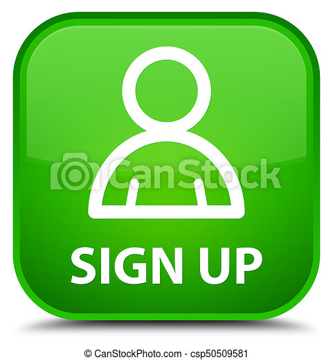 Sign up (member icon) special green square button - csp50509581
