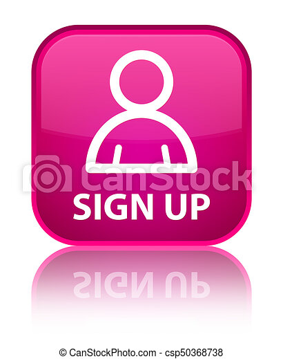 Sign up (member icon) special pink square button - csp50368738