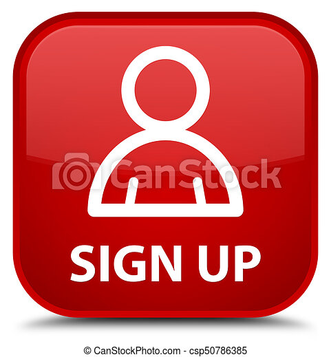 Sign up (member icon) special red square button - csp50786385