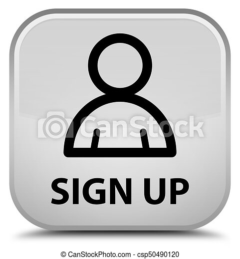 Sign up (member icon) special white square button - csp50490120