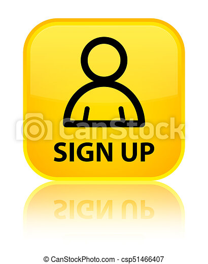 Sign up (member icon) special yellow square button - csp51466407