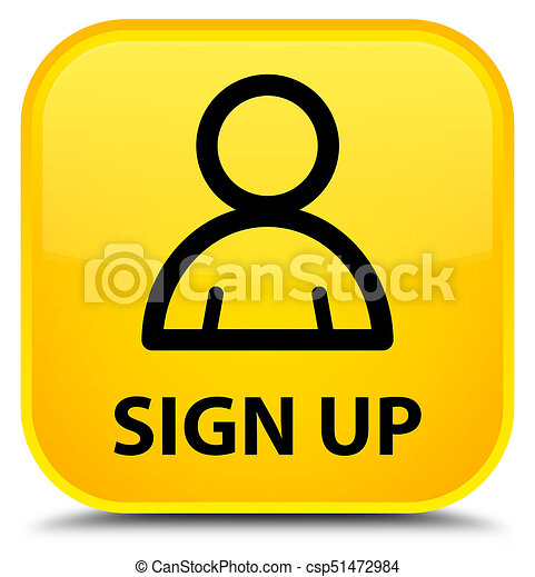 Sign up (member icon) special yellow square button - csp51472984