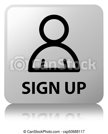 Sign up (member icon) white square button - csp50688117