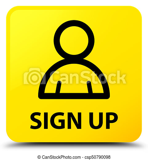 Sign up (member icon) yellow square button - csp50790098