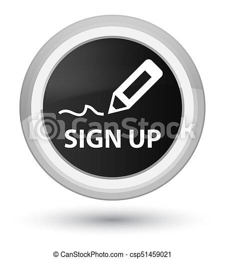 Sign up prime black round button - csp51459021