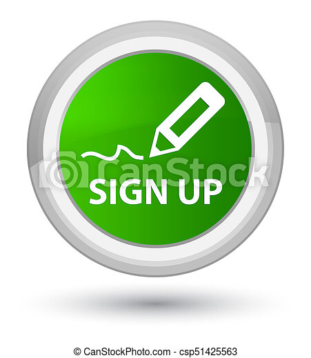 Sign up prime green round button - csp51425563