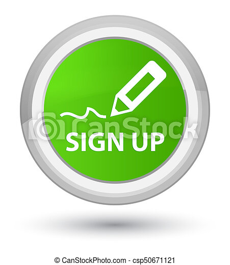 Sign up prime soft green round button - csp50671121
