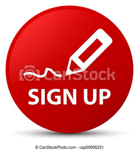 Sign up red round button - csp50695231