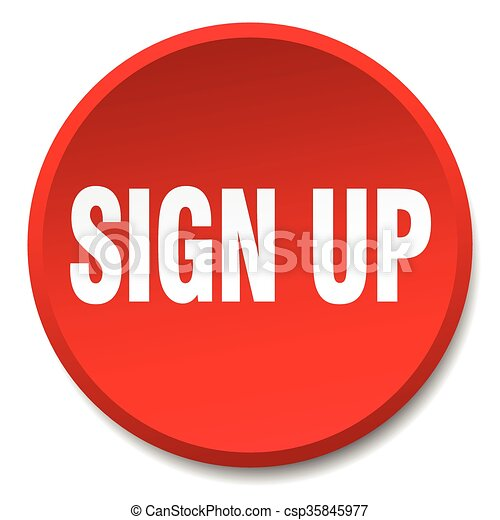 sign up red round flat isolated push button - csp35845977