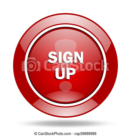 sign up red web glossy round icon - csp39888986