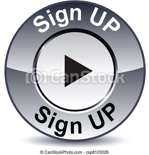 Sign up round button. - csp8103026