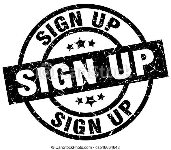 sign up round grunge black stamp - csp46664643