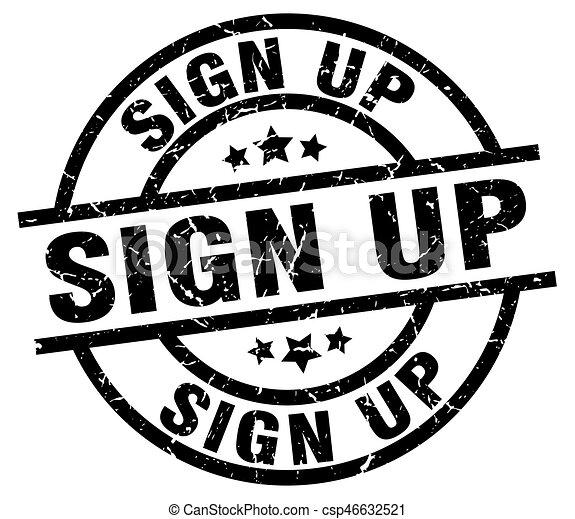 sign up round grunge black stamp - csp46632521