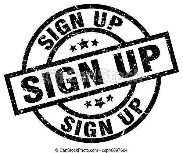 sign up round grunge black stamp - csp46697624
