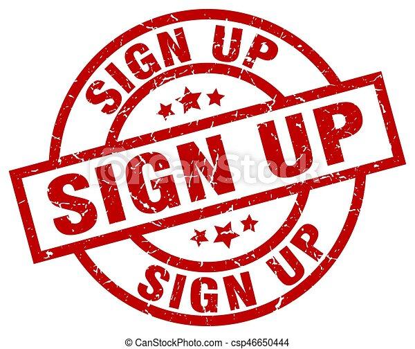 sign up round red grunge stamp - csp46650444