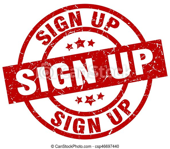 sign up round red grunge stamp - csp46697440
