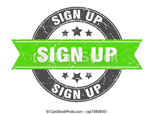 sign up round stamp with green ribbon. sign up - csp74808451