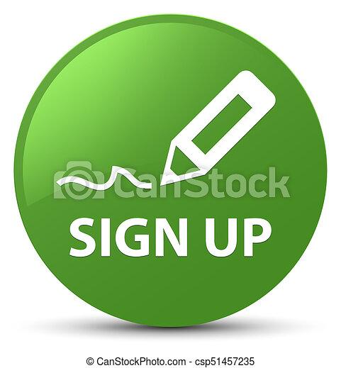 Sign up soft green round button - csp51457235