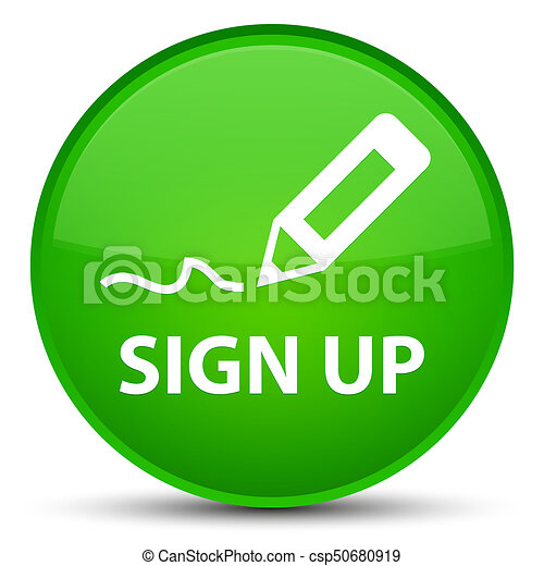 Sign up special green round button - csp50680919