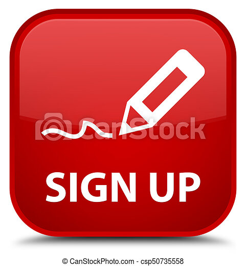 Sign up special red square button - csp50735558