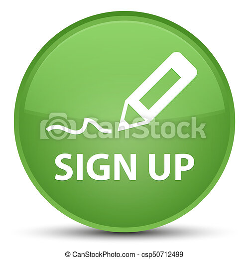 Sign up special soft green round button - csp50712499