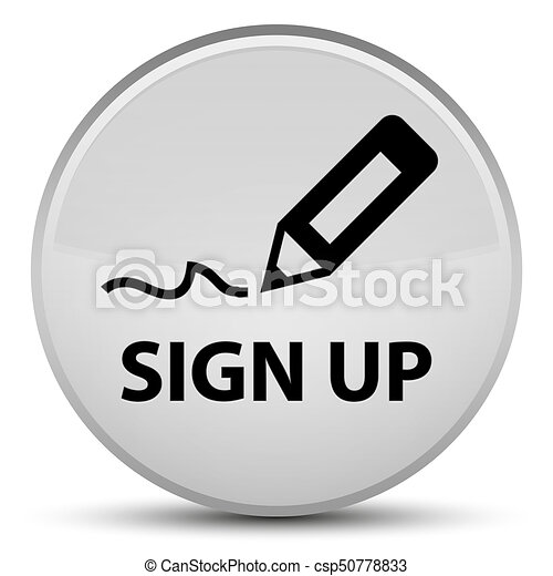 Sign up special white round button - csp50778833