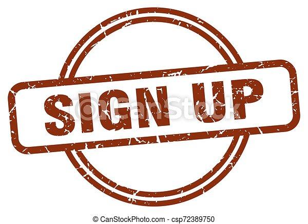 sign up stamp - csp72389750