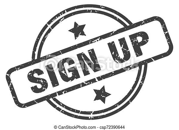 sign up stamp - csp72390644