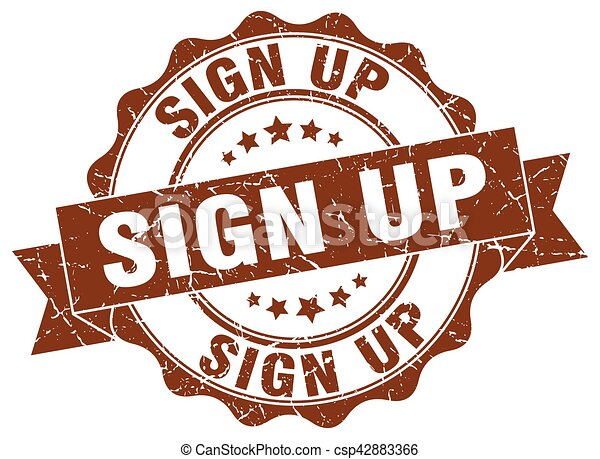 sign up stamp. sign. seal - csp42883366