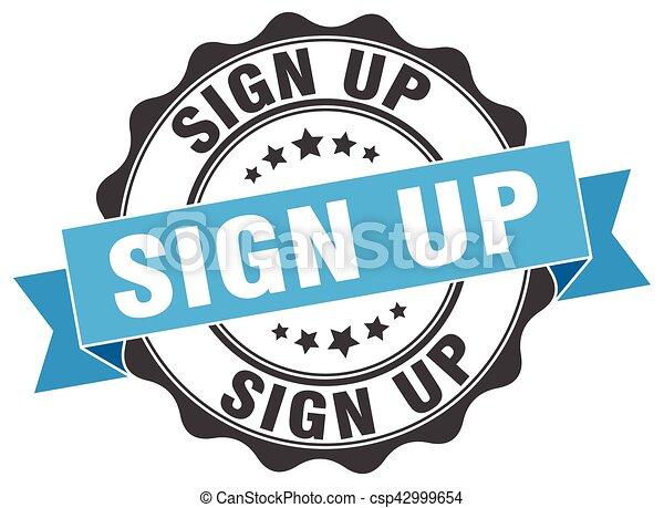 sign up stamp. sign. seal - csp42999654
