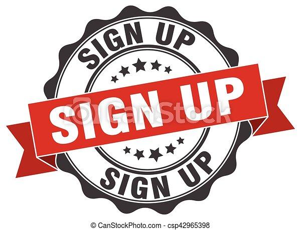 sign up stamp. sign. seal - csp42965398