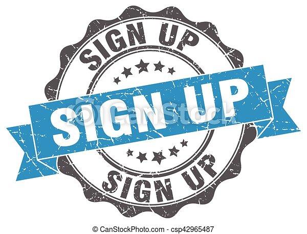 sign up stamp. sign. seal - csp42965487