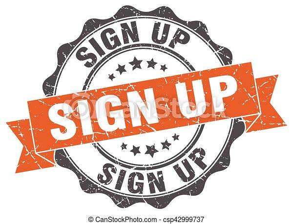 sign up stamp. sign. seal - csp42999737