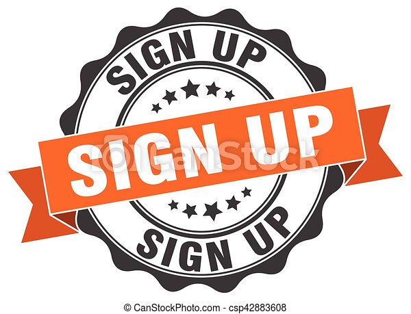 sign up stamp. sign. seal - csp42883608