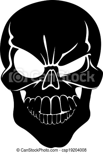 Sign winking scary grinning skull isolated on white background - csp19204008