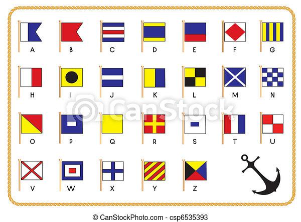 signal, vecteur, drapeaux, ancre, nautique - csp6535393