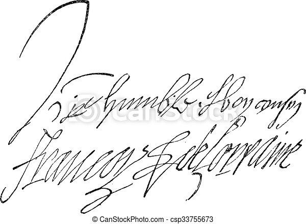 Signature of Francois de Lorraine, Duke of Guise (1519-1562), vintage engraving. - csp33755673
