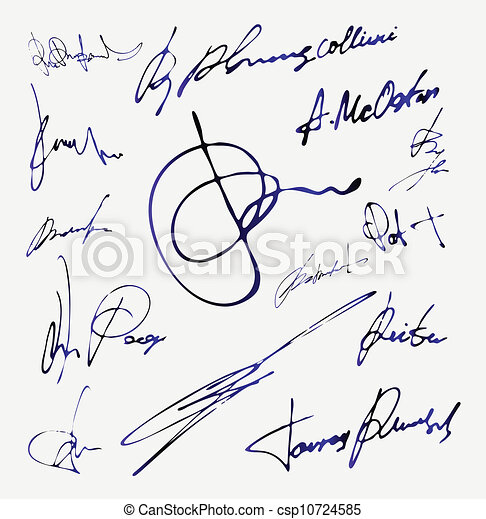 Signature Vector Autograph Name - csp10724585