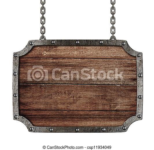 signboard, blanco, cadenas, medieval, aislado - csp11934049