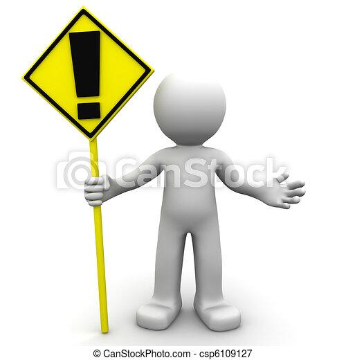 signe, caractère, 3d, jaune, alerte - csp6109127