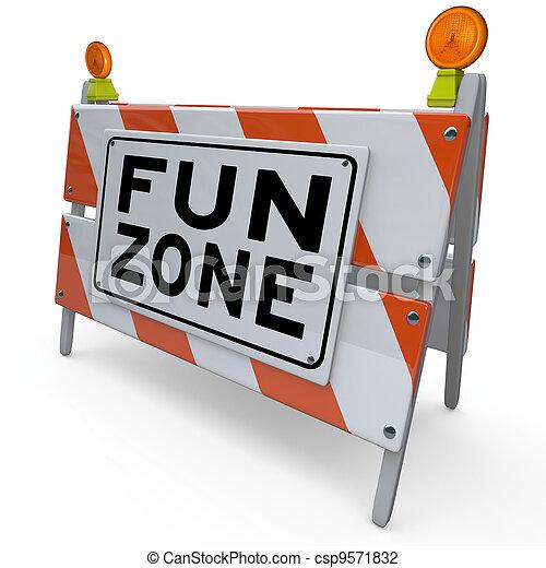 signe, construction, amusement, zone cour, barricade, gosses - csp9571832