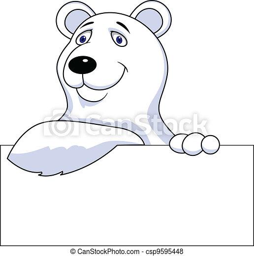 signe, dessin animé, ours, polaire, vide - csp9595448