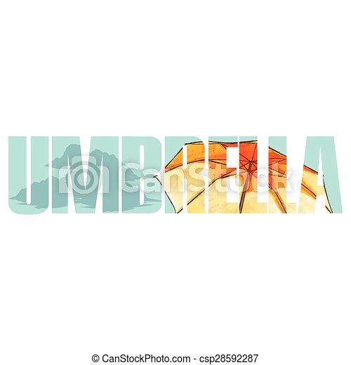 signe jaune, parapluie - csp28592287