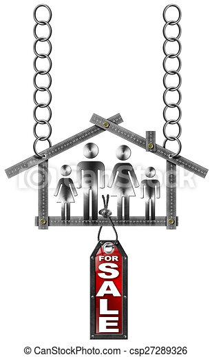 signe, maison, métal, -, vente, mètre, famille - csp27289326