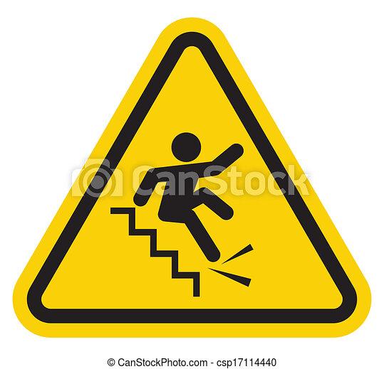 signe, tomber, avertissement, escalier, fermé - csp17114440