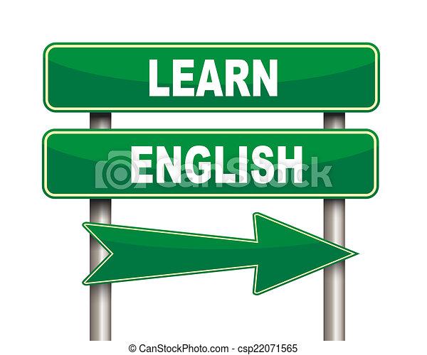 signe, vert, apprendre, route, anglaise - csp22071565
